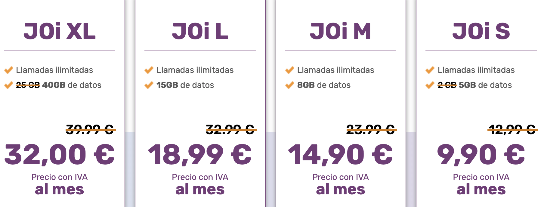 Tarifas JoiMobile españa